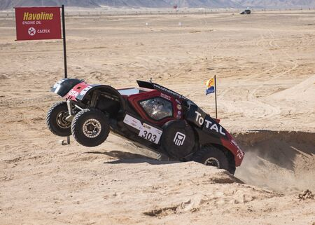 EL GOUNA, EGYPT - FEBRUARY 17TH 2017:  El Gouna Rally Cup desert rally on February 17th 2017 in El Gouna, Egypt. The opening day special time trial stage in El Gouna Editorial