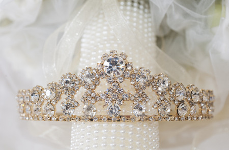 Closeup detail of brides ornate tiara jewelery headpiece Stock Photo