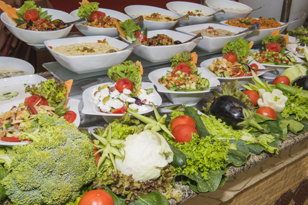 Selection display of salad food at a luxury restaurant buffet bar area Stock Photo