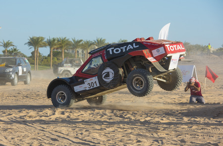 SAHL HASHEESH, EGYPT - NOVEMBER 24TH 2017:  Sahl Hasheesh Rally Cup desert rally on November 24th 2017 in Sahl Hashessh, Egypt. The first day special stage in Sahl Hasheesh