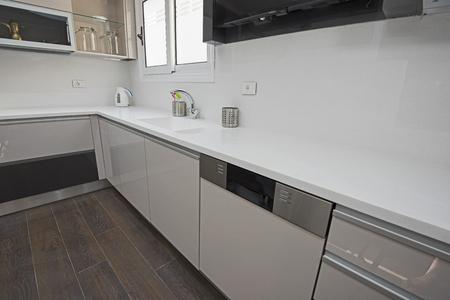 Interior design decor showing modern kitchen with cupboards in luxury apartment showroom Banco de Imagens