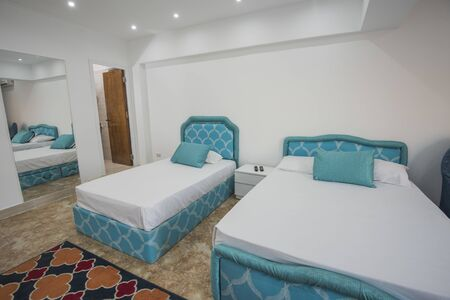 Twin beds in bedroom of luxury apartment showing interior design with mirror