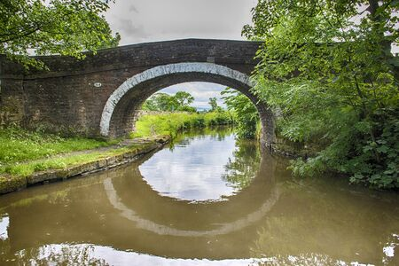View of an English rural countryside scenery on British waterway canal during cloudy day with old stone road bridge 版權商用圖片
