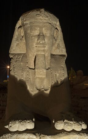 Ancient egyptian stone sphinx lit up in night at temple of Luxor