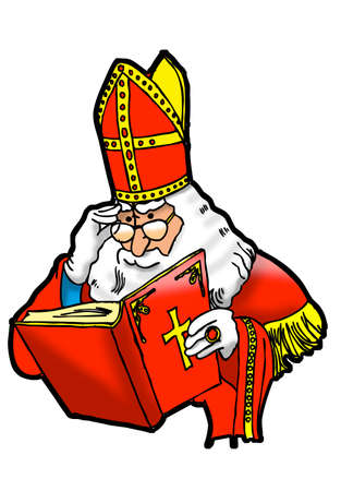sinterklaas: Sinterklaas reads in December