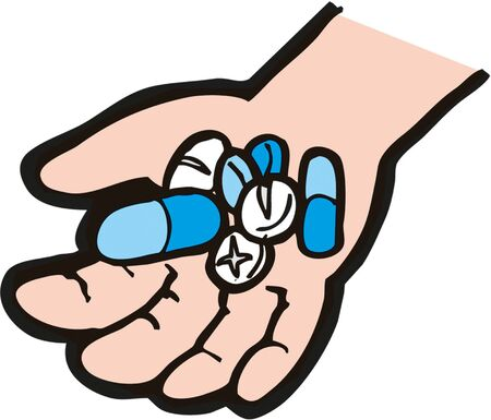 Hand with medication in cartoon illustration.