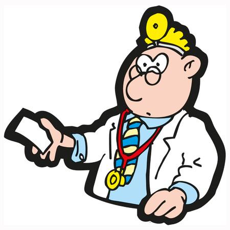 닥터 처방전, 흰색 배경에 고립 된 벡터 일러스트를 나눠. 일러스트