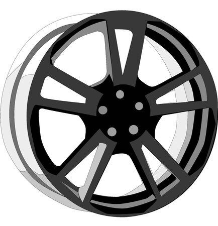 Black car rim illustration.