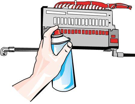 Hand reinigt electro met reinigingsspray Stock Illustratie