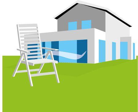 Tuinstoel op terras, voor een huis Stock Illustratie