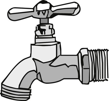 Steel faucet illustration.