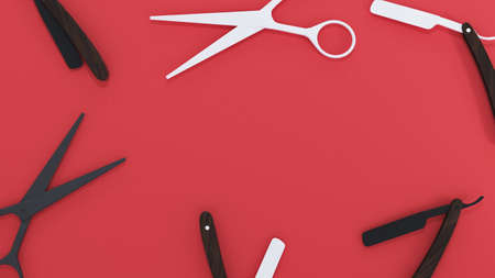 3d rendering. scissors, a straight razor on a red background. space for your text or ad
