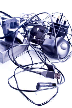 leads: The familiar tangle of leads and cables from modern technology