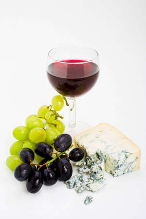 redwine: Gourmet selection of wine, white and red grapes and gorgonzola