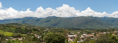 A panoramic view of Yunguilla Valley and the town of La Union, Ecuador   The Andes Mountains are in the background