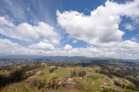 A view overlooking the Andes Mountains from atop Cojitambo, the site of ancient Inca ruins located near Cuenca, Ecuador Banco de Imagens