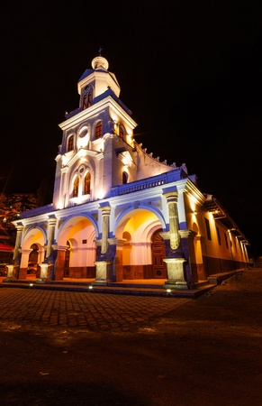 A nighttime photo of the Church of Turi located in Turi, Ecuador, just south of Cuenca