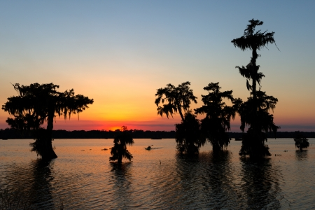 Kayak at Sunset, Lake Martin, Breaux Bridge, Louisiana photo