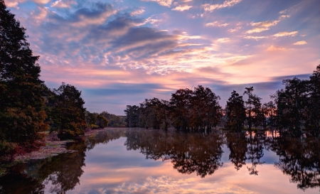bayou swamp: An HDR  High Dynamic Range  image of a sunrise on Lake Martin, Breaux Bridge, Louisiana, in the heart of Cajun Country  Stock Photo
