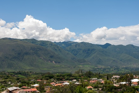 nestled: Yunguilla Valley and the city of La Union, Ecuador, nestled in the Andes Mountains  Stock Photo