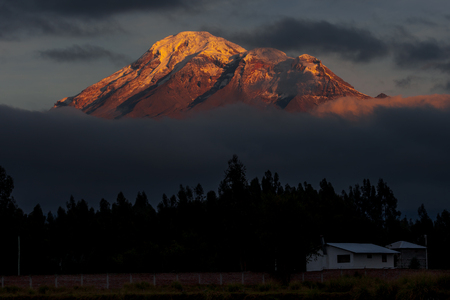 A view of Chimborazo volcano at sunrise as seen from Riobamba Ecuador.