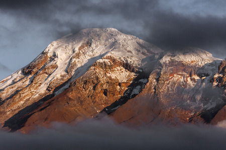 The Chimborazo volcano summit in the morning.  Chimborazo is located in Ecuador near the city of Riobamba. Zdjęcie Seryjne
