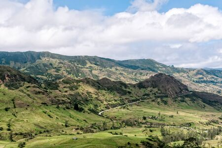 roof ridge: Yunguilla Valley Ecuador on the way to Giron. Stock Photo