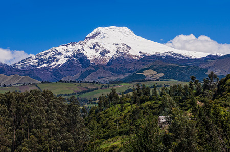 A view of the Cayambe Volcano on a very clear day.  Cayambe is located near Quito Ecuador.