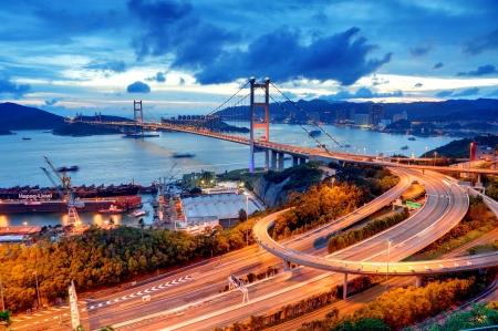 kong river: Tsing Ma Bridge sunet Stock Photo