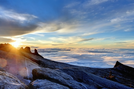 sabah: Mount Kinabalu, near Lows Peak, about 4000m. This is sunrise.