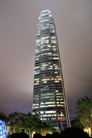 International Financial Building in Hong Kong at Night
