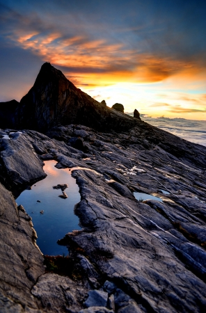 sabah: Mount Kinabalu, near Lows Peak, about 3900m. This is sunrise.