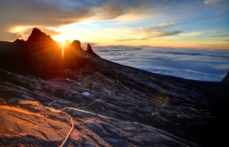Mount Kinabalu, near Lows Peak, about 3900m. This is sunrise.