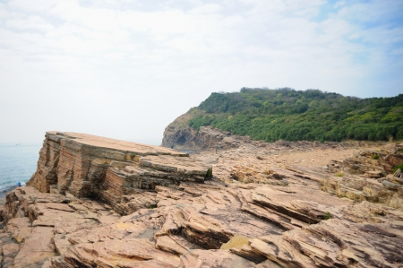 Strang geological formation in Tung Ping Chau in Hong Kong photo