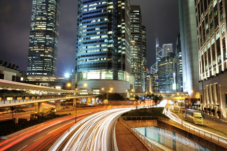 Central, Hong Kong, at Night  The busiest place in the world  photo