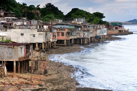 fishing village: Costal village in Hong Kong, built over the sea