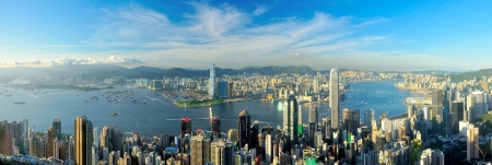 high view: Victoria Harbour, Hong Kong, shot from the Peak  Stock Photo