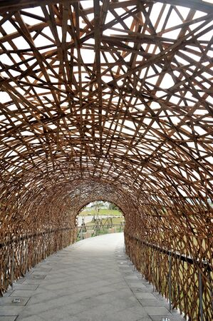 entrance arbor: Bamboo tunnel structure in Taiwan Stock Photo