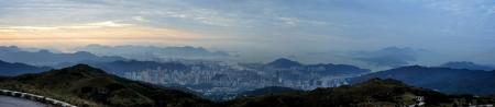 wan: Sunrise in Victoria Harbour and Tsuen Wan, Hong Kong from Tai Mo Shan, the highest hill in Hong Kong