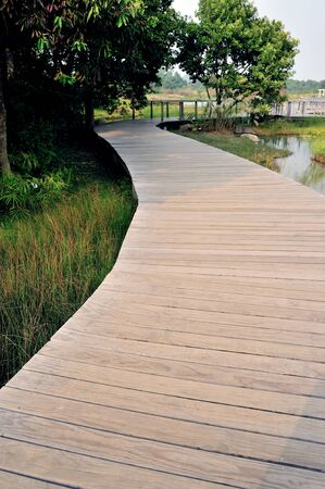 Hong Kong Wetland Park wooden walk way photo