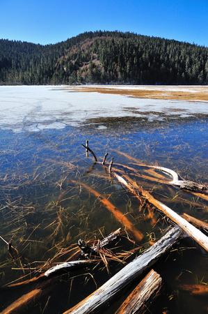 frozen lake: Pudacuo frozen Lake in China Stock Photo