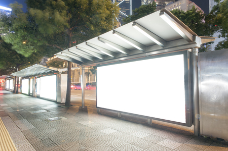 billboard advertising: A Big empty blank billboard during night Stock Photo