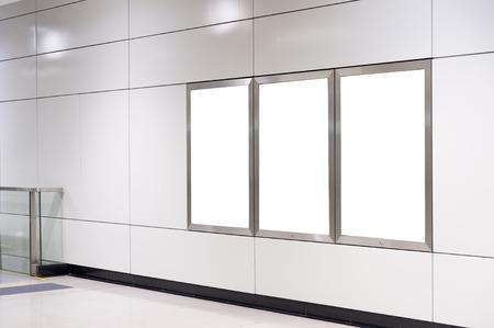 billboard: Empty White Billboard inside building