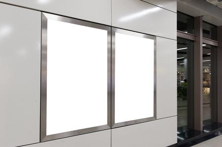 blank space: Empty White Billboard inside building