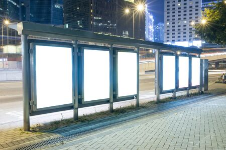 commercial sign: A Big empty blank billboard during night Stock Photo