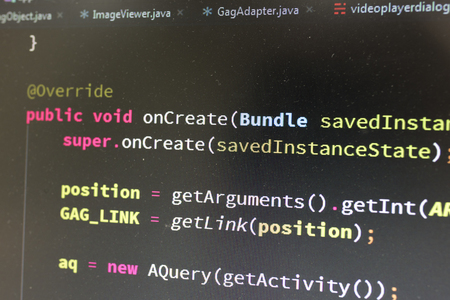 java script: Coding on screen with colorful code Stock Photo