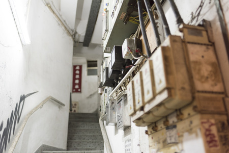 tenement: HONG KONG, CHINA - 24 FEB 2016: Stair of Tong Lau, tenement buildings built in late 19th century to the 1960s in Hong Kong. Editorial
