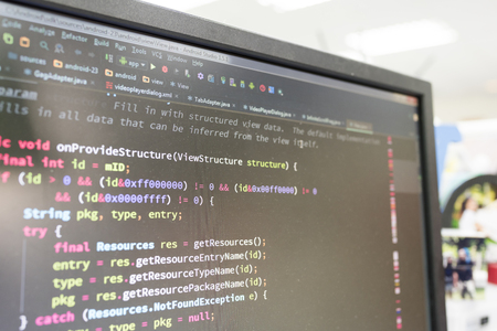 Coding on screen with colorful code Stock fotó