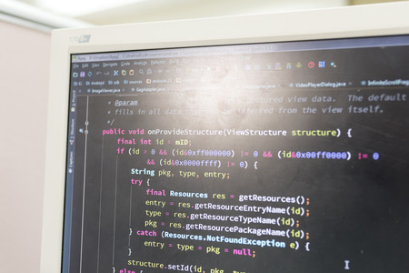 html5: Coding on screen with colorful code Stock Photo