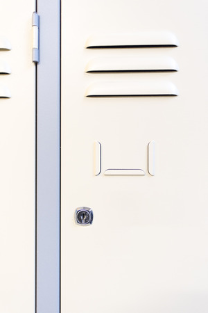 School locker made with metal in a line Stock Photo
